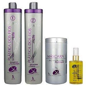 Kit Selagem Térmica dos Fios Life Máscara de Hidratação Platinum e Óleo de Argan Yllen Cosméticos