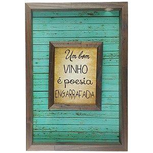 Quadro Porta Rolhas de Vinho Sobreposto Madeira MDF e Vidro Para Decoração - ArtFrame