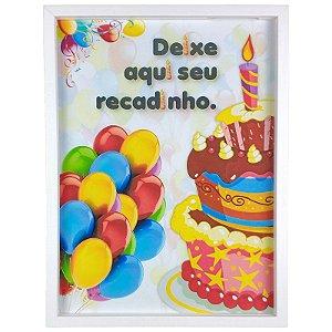 Quadro Porta Recado Mensagens de Recordação de Aniversário Bolo e Balões 30x40cm