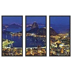 Quadro Decorativo Triplo Com Moldura Paisagem Rio de Janeiro á Noite - ArtFrame