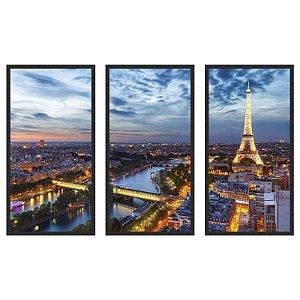 Quadro Decorativo Triplo Com Moldura Paisagem Paris Torre Eiffel ao Entardecer - ArtFrame