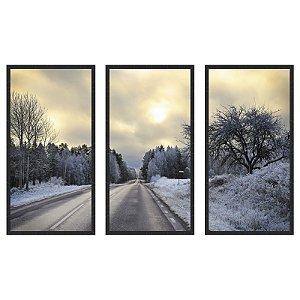 Quadro Decorativo Triplo Com Moldura Paisagem de Estrada no Inverno - Art