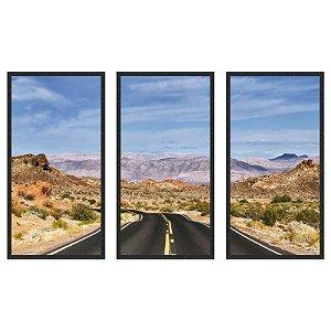 Quadro Decorativo Triplo Com Moldura Paisagem de Estrada no Deserto - Art