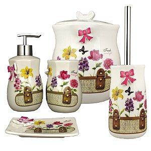 Kit Banheiro Porcelana Porta Sabonete Escova Lixeira fresh Bautiful 5 pçs - Amigold
