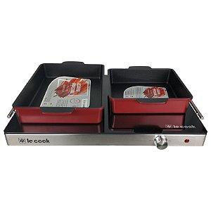 Kit Rechaud Mesa Térmica de Vidro Temperado e Assadeira Vermelha Quadrada e Retangular - Le Cook