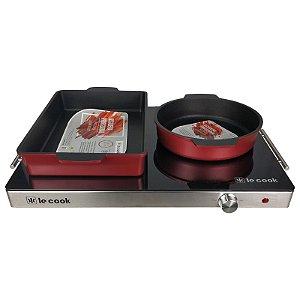 Kit Rechaud Mesa Térmica de Vidro Temperado e Assadeira Vermelha Redonda e Retangular - Le Cook