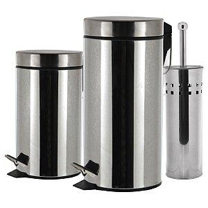 Kit 2 lixeiras 03 + 12 Litros com Escova Sanitária em Aço Inox 3 Peças - Wincy