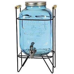 Suqueira Refresqueira Vidro Colorido Com Suporte Retrô e Torneira Cromada 5 Litros - Wincy