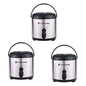 Kit Botijão Térmico Aço Inox Pressão Com Tripé Dobrável 3 Unidades 6 Litros - Termopro