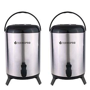 Kit Botijão Térmico Aço Inox Pressão Com Tripé Dobrável 2 Unidades 10 Litros - Termopro