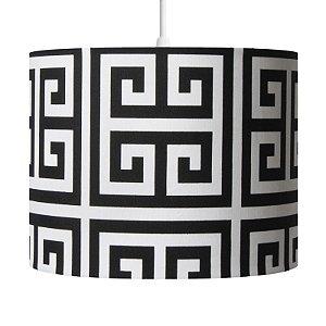 Pendente Luminária Hoss Decorativo Cúpula em Tecido Estampado Preto e Branco 23X30 - Carambola