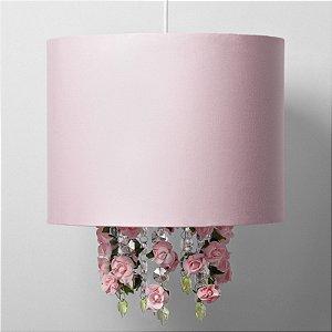 Pendente Luminária Infantil Decorativo Cúpula Rosa Com Flores em EVA 33X30 - Carambola