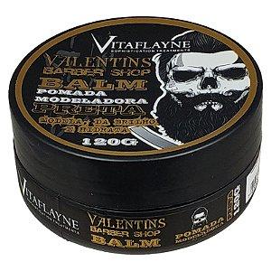 Pomada Modeladora Preta Valentins Barber Shop Balm Brilho e Hidratação 120g - Vitaflayne