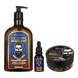 Kit Gel Shaving 500ml Óleo Pós Barba 30ml e Pomada Modeladora Balm Preta 120g - Vitaflayne