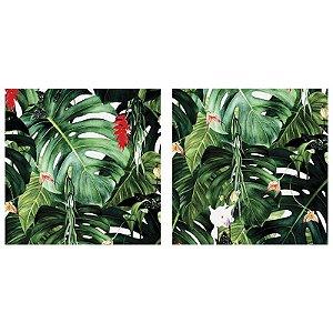 Quadro Decorativo Duplo de Acrílico de Parede Paisagem Flores e Folhas - Artframe