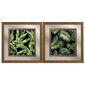 Quadro Decorativo Duplo Com Paspatur em Espelho Paisagem Folhas 50x50 - Artframe