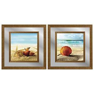 Quadro Decorativo Duplo Com Paspatur em Espelho Paisagem Praia 50x50 - Artframe