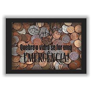 Quadro Porta Dinheiro Cofre Madeira e Vidro Decoração Emergência 12x17 - ArtFrame