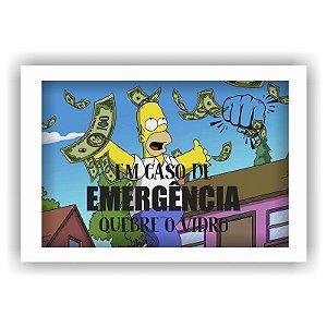 Quadro Porta Dinheiro Cofre Madeira e Vidro Decoração Quebre o Vidro Homer 12x17 - ArtFrame