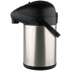 Garrafa Térmica Pressão Aço Inox Trix Preta 3,5 Litros com Base Giratória - Termopro