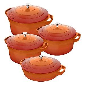 Conjunto Caçarola 4 peças Cerâmica Antiaderente com tampa de inox  24-28-32-24cm- Le Cook