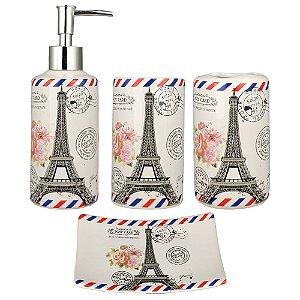 Kit Banheiro Lavabo Acessório Jogo Saboneteira Líquida Porta Escova Pasta Dente Torre Eiffel