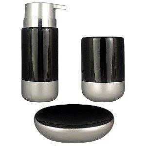 Kit Banheiro Lavabo Saboneteira Prata Acessório Em Porcelana  Preto Porta Escova Sabonete 3Pç