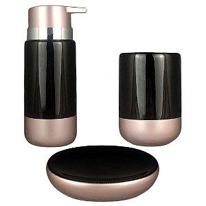 Kit Banheiro Lavabo Saboneteira Rose Preto Acessório Em Porcelana Porta Escova Sabonete 3Pç