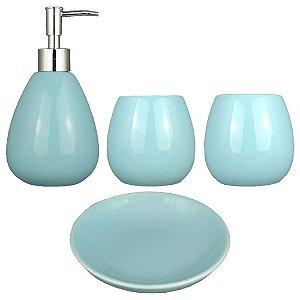 Kit Banheiro Acessório Lavabo Cerâmica Azul Retrô Vintage Saboneteiras Porta Escova E Pasta 4 Pçs