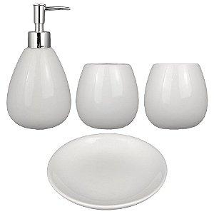 Kit Banheiro Acessório Lavabo Cerâmica Branco Retrô Vintage Saboneteiras Porta Escova E Pasta 4 Pçs