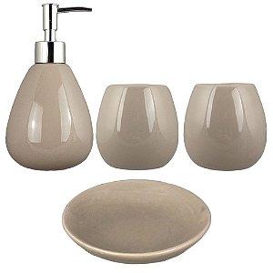 Kit Banheiro Acessório Lavabo Cerâmica Marrom Retrô Vintage Saboneteiras Porta Escova E Pasta 4 Pçs