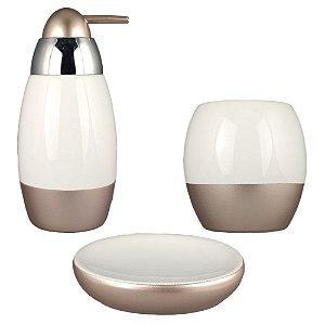 Kit Banheiro Lavabo Acessório Dourado Porcelana Branca Saboneteira Porta Sabonete Escova 3Pç Moderno