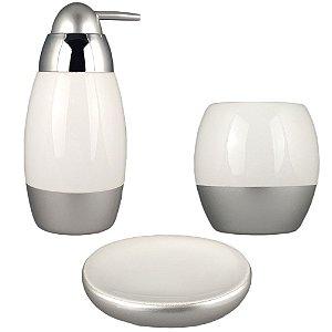 Kit Banheiro Lavabo Acessório Prata Porcelana Branca Saboneteira Porta Sabonete Escova 3Pçs Moderno