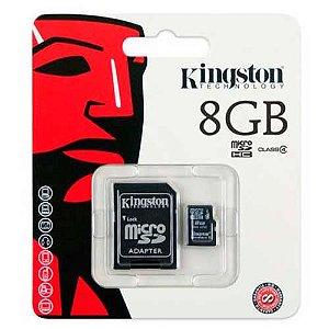 cartão de memória 8gb kingston com adaptador classe 4