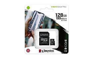 Cartão de memória microSD de 128GB Canvas Select Plus - Leitura: 100MB/s - Classe 10 com adaptador SD