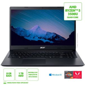 Notebook Acer Aspire 3 A315-23-R24V AMD Ryzen 5 8GB 1TB HD 15,6' Windows 10