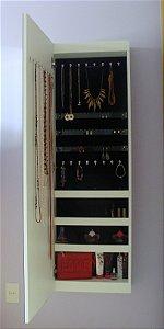 Armário para Bijuterias, Joias e Maquiagem com Espelho - Abertura com dobradiças
