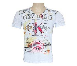 Camisa Calvin Klein gola V branca