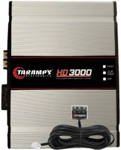 Módulo Amplificador Digital Taramps HD 3000 - 1 Canal - 3575 Watts RMS com Extensor LED Clip - 2 Ohm