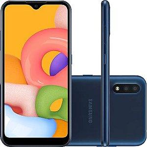"""Smartphone Samsung Galaxy A01 Azul Dual Chip, 32GB, Tela Infinita 5,7"""", Câmera Traseira Dupla, Processador Octa-Core, Android 10.0"""