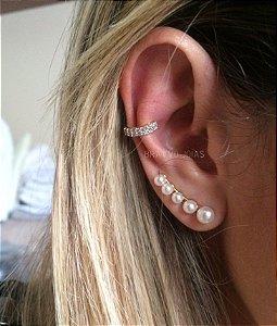 Brinco Ear Cuff Thássia Pérolas - Ouro