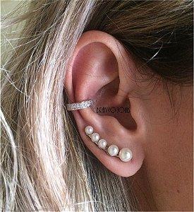 Brinco Ear Cuff Thássia Pérolas - Ródio