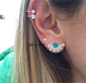 Brinco Ear Cuff Esmeralda Baguetes - Prata