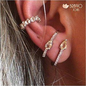 Brinco Ear Hook Citrino - Ródio