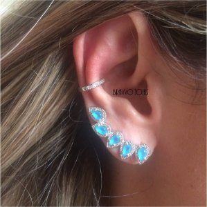 Brinco Ear Cuff Gotas Turquesa - Ródio