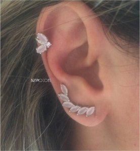 Brinco Ear Cuff Navetes Nude - Ródio