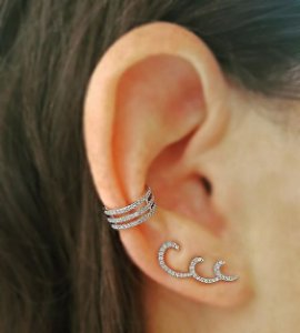 Brinco  Wave - Ródio - Ear Cuff