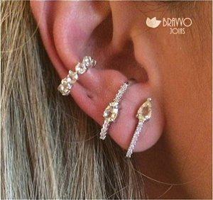 Brinco Ear Hook Citrino II - Ródio