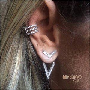 Brinco Ear Jacket Geométrico - Ródio