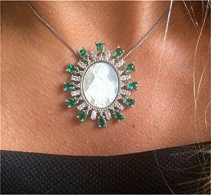 Colar Medalha Madre Esmeralda - Ródio